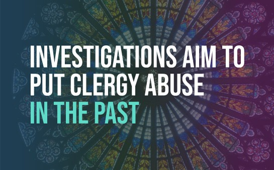 """stained glass window with """"investigations aim to put clergy abuse in the past"""" over it"""