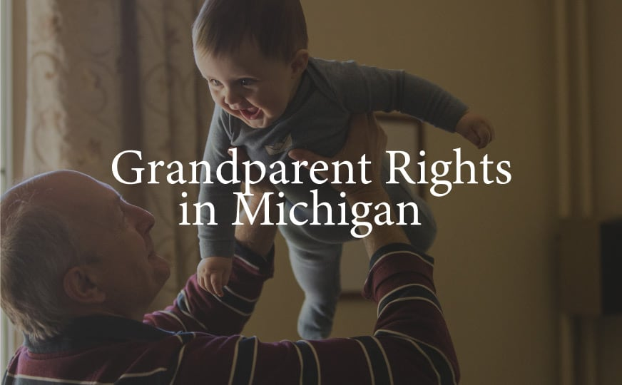 "grandpa holding baby up over his head with words ""Grandparent Rights in Michigan"" over image"