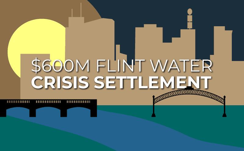 Flint water crisis settlement, Flint Michigan skyline