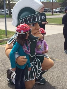 Sparty MSU Mascot at Lids for Kids event