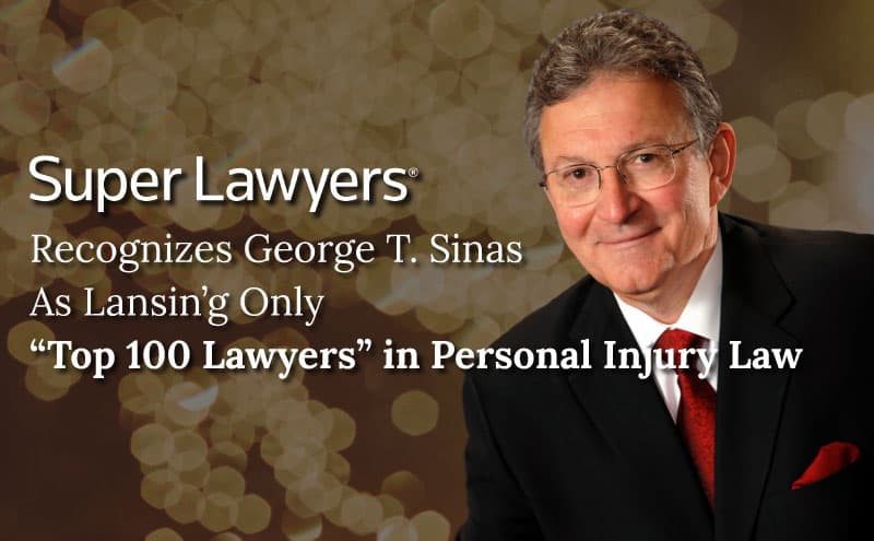 George Sinas headshot over gold glitter background, Super Lawyers Top 100 recognition