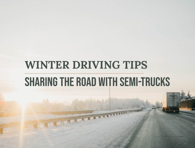 semi-truck driving on winter road