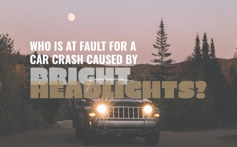 car with bright headlights at dusk