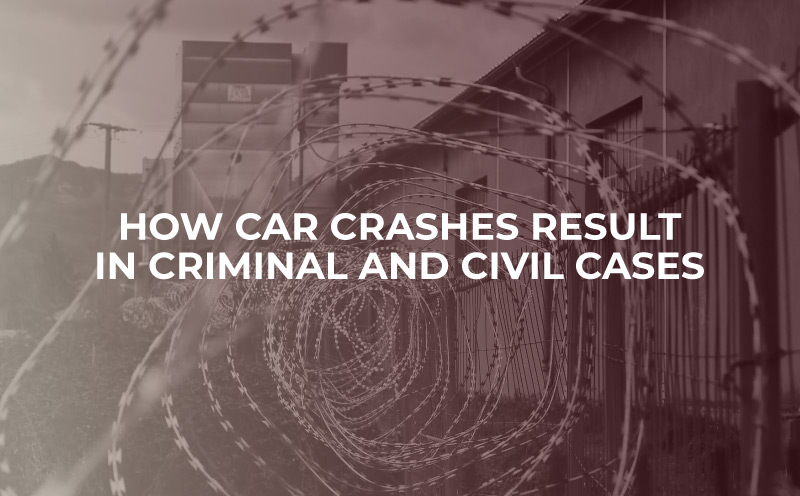 """prison fencing background, image says """"how car crashes result in criminal and civil cases"""""""