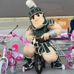 Lansing bike helmet giveaway Sparty on bike