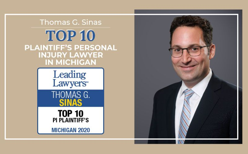 Tom Sinas Recognized as a Michigan Top 10 Plaintiff's Personal Injury Lawyer