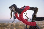 red and black bicycle handlebars