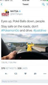 nhtsa pokemon go tweet